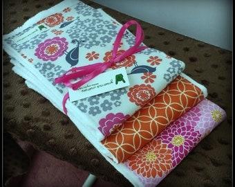 Baby Girl Burp Cloth Set - Orange and Pink Modern Patterns
