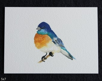 Blue Bird Watercolor Print, bird art, watercolor bird, bird print, bird painting