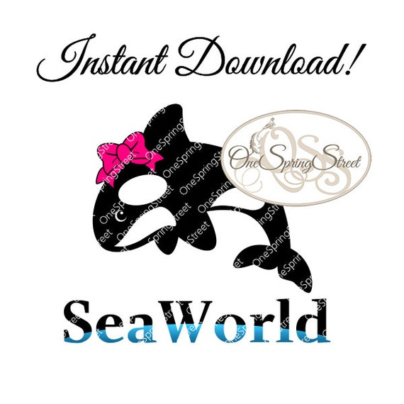 SeaWorld T-Shirt Iron On Transfer Shamu With Bow Girls Family
