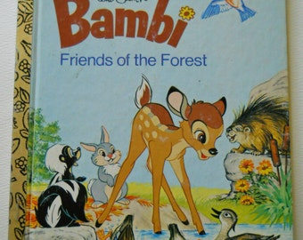 Bambi Book - Vintage Little Golden Book - Friends of the Forest -Disney's Bambi Story - 1975