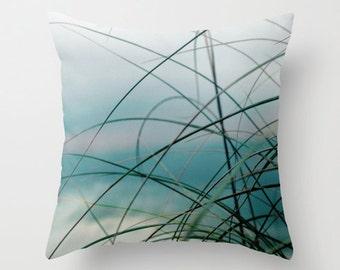 Pillow Cover, Beach Pillow Cover, Blue Teal Green Decorative PIllow, beach grass pillow, Beach cottage pillow, Seascape pillow, Beach decor