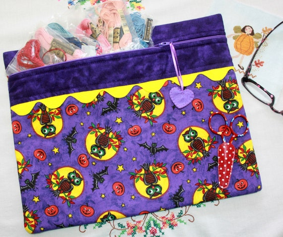 Moonlight Mischief Cross Stitch, Sewing, Embroidery Project Bag