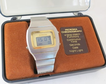 Rare Intel Microma Chronograph Blade Runner Led/Lcd Watch with Box and Papers, Blade Runner Watch, Intel Microma, Chronograph Watch