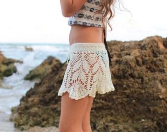 Beach skirt cover-up , Hippie skirt , knit Crochet summer skirt , Festival clothing