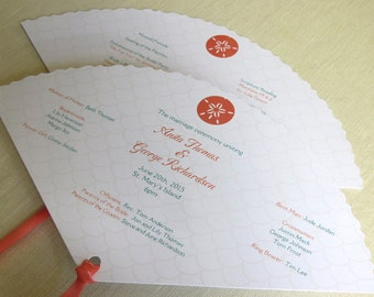 Sand Dollar Beach Wedding Program -  Tropical Fan Program - Caribbean Ceremony Program