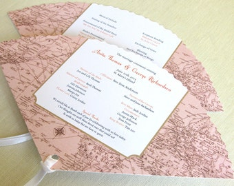 Vintage Map Wedding Program -  Map Beach Fan Program - Caribbean Ceremony Program
