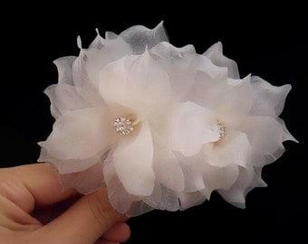 Swarovski Wedding Hair Flower, Bridal Hair Flower, Bridal HairPiece, Swarovski Crystal Wedding Hair Accessory, Pure Silk Bridal Hair Pins