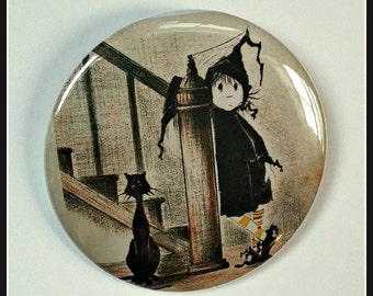 "Dorrie, the Little Witch  - Large 2.25"" Button"