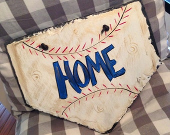 Baseball homeplate sign 10x10 original hand painted by me slate