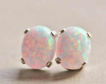 Australian Opal Gemstone Earrings,White Opal Post Earrings,Lab Created Opal Gemstone,Oval,Sterling Silver Earstud,Petite,Birthstone,Gift