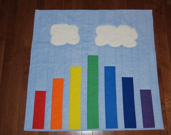 Easy Quilt Pattern, Rainbow baby Quilt Pattern with Fluffy Soft clouds, PDF Instant download, Beginner Pattern, Very Fun to make