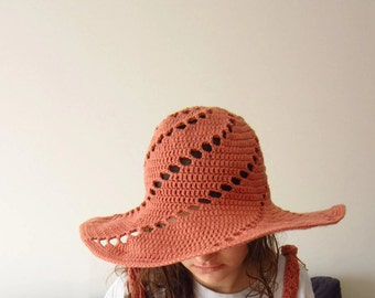 Summer Wide Brim Floppy Hat. Crochet Salmon Pink Cloche. Handmade Women Cotton Hat. Sun Protection Hat by dodofit on Etsy