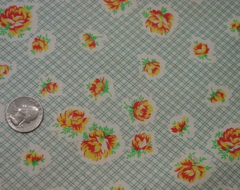 Nice Vintage Feedsack, Fabric, Green Check with Yellow/Orange Flowers LG. 37 1/2 x 44""