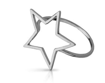 ON SALE 30% OFF Open Star Ring Stacking Ring Sterling Silver 925 Statement Fantasy Star Jewelry, size 6.5 us