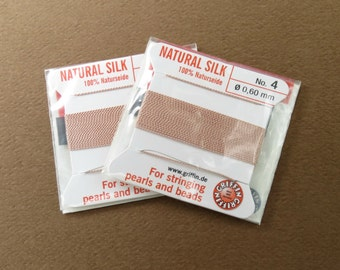 Natural Silk Cord With Needle - 2 packs - Size 4 - Light Pink