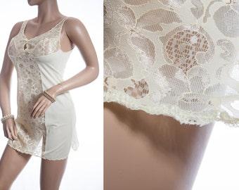 Elegant Schiesser S-Line silky soft pretty lemon Perlon and delicate see through lace panel feature 70's vintage mini slip petticoat - 3320