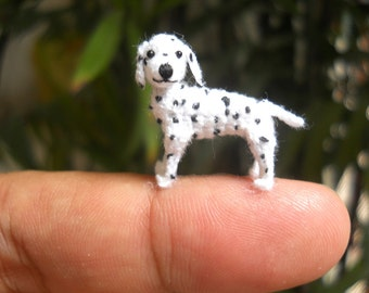Miniature Dalmatian Puppy - Tiny Crochet Dog Stuffed Animals - Made To Order