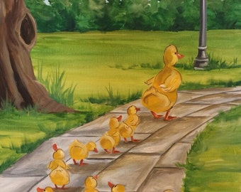 Make Way for Ducklings, Original Acrylic Painting by Renee MacMurray