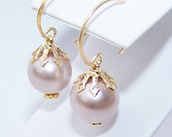Bridal Pearl Earrings on gold vermeil earwires champagne and gold glass pearl wedding earrings