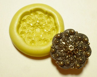 Antique button mold- flexible silicone push mold, Scallop, flowers, PMC, Art Clay Silver, fimo, Sculpey, jewelry mold B2