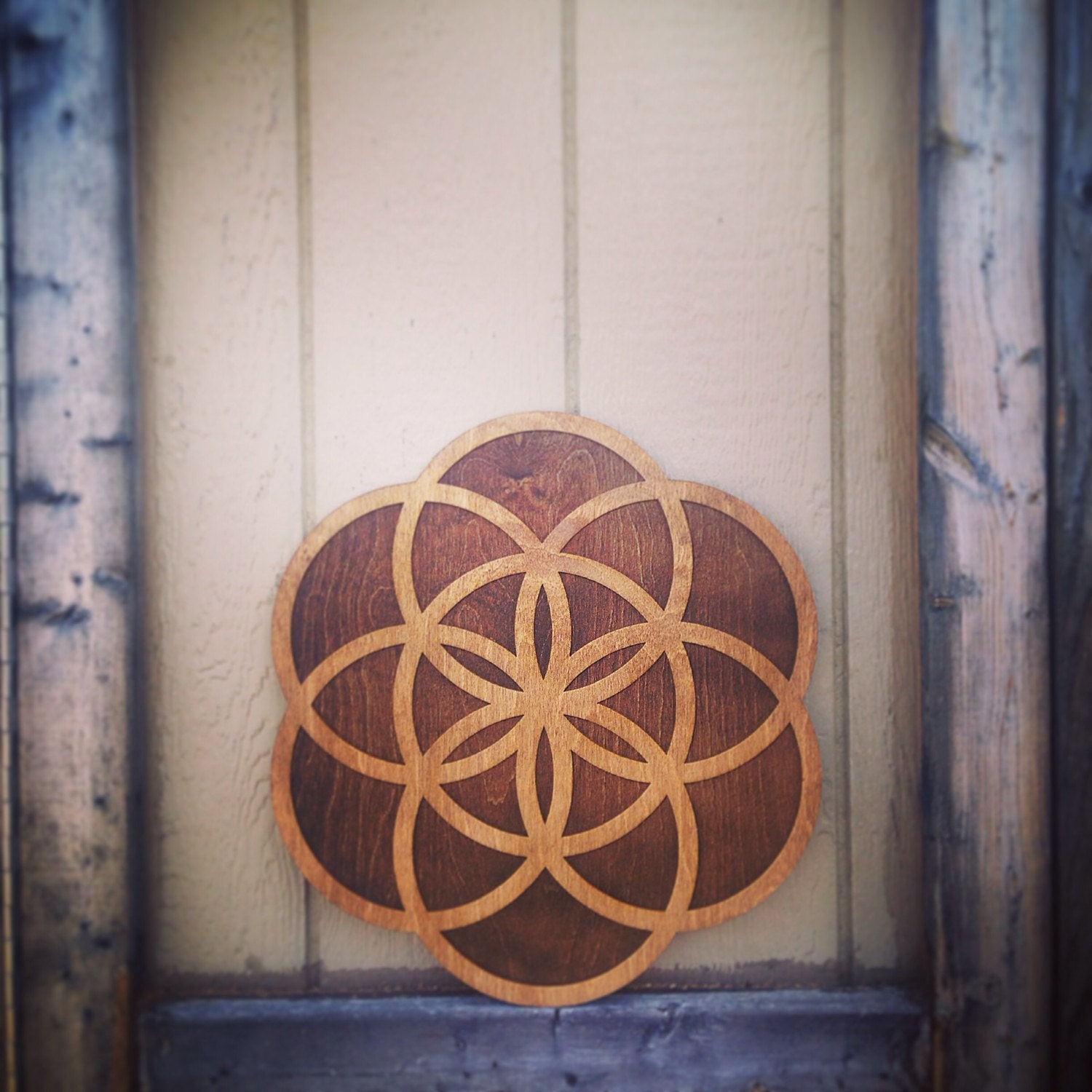Wood Flower Wall Decor : Large two tone wood flower of life wall art