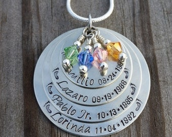 1, 2, 3, or 4, Children Mother's Necklaces Personalized and Hand Stamped