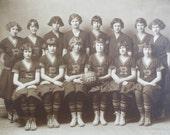 Rifle Colorado High School Girls Basketball Team studio portrait 1925 women's sports history Title 9 fashion hairstyles western rural