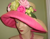 Pink ROSES Raffia HAT, Custom, Designer, Hot Pink Natural Raffia. Floral, Church, Garden Party,Church, Wedding