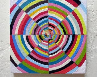 Original Encaustic Painting Test Patter Diagonal Geometric original encaustic beeswax painting abstract art