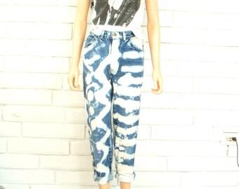80's PUNK BLEACHED JEANS vintage high rise pants denim high waisted bleach splotched M 8 9