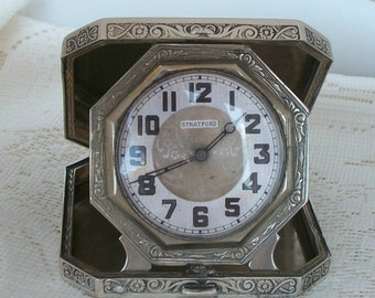 RARE Antique Watch Clock Sterling Silver Elgin Stratford Folding travel compact Clock Engine turned 1900s