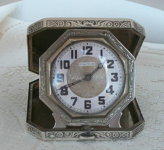 antique clock sterling silver elgin stratford