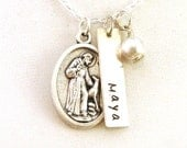 Personalized Pet Necklace with St Francis of Assisi Prayer Medal - Sterling Silver Pet Name Necklace
