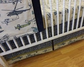 BUMPERLESS Crib Bedding-  MADE to ORDER-  Baby Boy Bedding Vintage Air