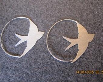 Swallow Shaped Sterling Silver Earrings