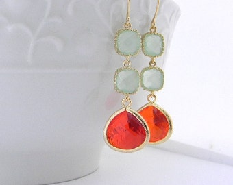 Mint and Orange Earrings / Dangle Earrings / Gold Earrings / Bridesmaid Earrings / Bridal Jewelry / Wedding Jewelry / Summer Wedding / Gift