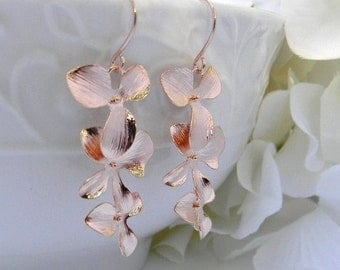 Rose Gold Earrings - Orchid Dangle Earrings - Rose Gold Jewelry - Bridesmaid Earrings - Wedding Jewelry - Gift For Her - Mothers day gift