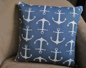 Nautical Pillow Blue and White Anchor Pillow Cover // Nautical Decor // Nautical Home Decor // Coastal Decor
