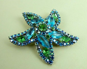 Vintage Silver Back with Blue and Green Rhinestones Weiss Starfish Brooch