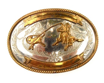 Vintage Cowboy Roping Calf Oval Buckle Gold Tone German Silver Lasso Rope Rodeo Horse Country Western Southwestern Etched Engraved Embossed