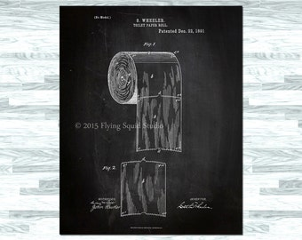 Bathroom Art - Toilet Paper Roll Patent Print on Gallery Wrapped Canvas or Archival Photo Paper - Bathroom Wall Decor, Vintage Bathroom Art