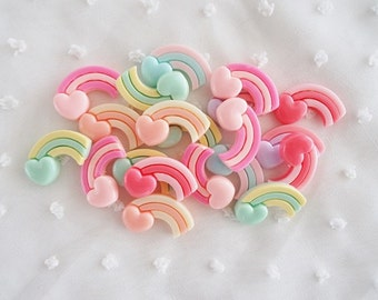 6pcs - Pastel Heart Shooting Rainbow Fairy Kei Decoden Cabochon (23x13mm) STR004