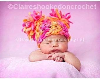 Pure wool Jester hat 0-3 months Hand Crocheted double Pom Pom hat, Photography Prop