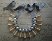 Ribbon necklace, Ivory and Grey ribbon neclace with big white glass pearls