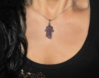 Hamsa charm, Peachblow Agate Druzy Geode Hamsa charm, Hamsa necklace, Stone Hamsa, Natural Hamsa, druzy stone jewelry, Agate Druzy