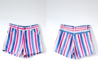 Vintage striped high waisted shorts // red white and blue shorts // fourth of July shorts // striped high waist shorts // retro festival