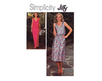 Simplicity 8955 Pullover dress maxi or short length with shoulder ties Jiffy 1970s UNCUT sewing pattern Size 12 Bust 34