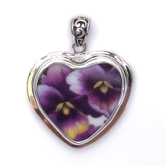 Broken China Jewelry Double Purple Pansy Pansies Medium Heart Sterling Pendant