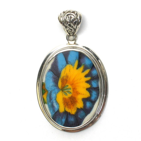 Broken China Jewelry Portmeirion Botanic Garden Morning Glory Flower Sterling Oval Pendant