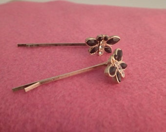 Pair of Vintage Butterfly BobbyPins hair decorations accessories